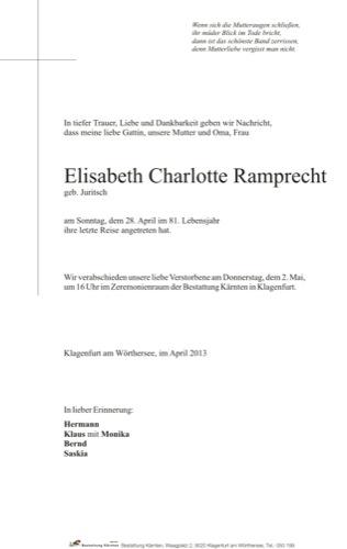 RAMPRECHT Elisabeth Charlotte