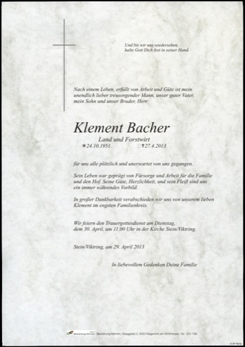 BACHER Klement