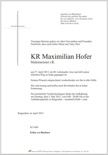 HOFER Maximilian Engelbert
