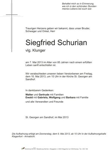 SCHURIAN Siegfried