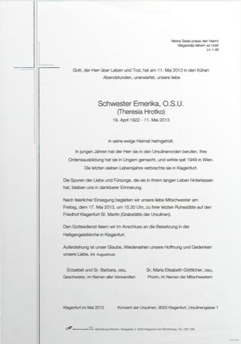 HROTKO Sr. Emerika O.S.U. Theresia