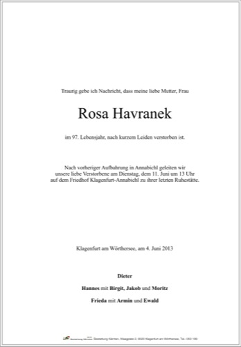 HAVRANEK Rosa