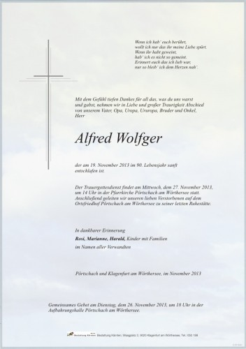 Alfred Wolfger