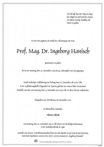 Prof. Mag. Dr. Ingeborg Hanisch