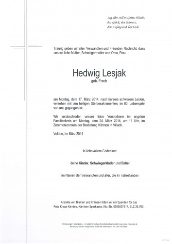 Hedwig Lesjak geb. Frech