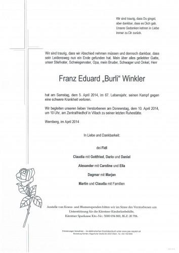 "Franz Eduard ""Burli"" Winkler"