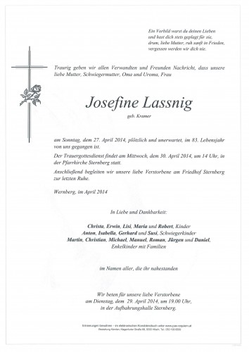 Josefine Lassnig geb. Kramer