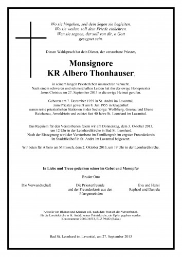 Monsignore KR Albero Thonhauser