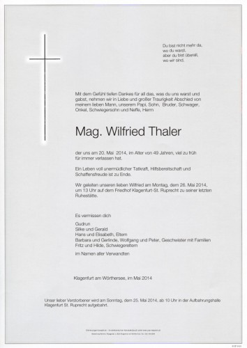 Mag. Wilfried Thaler
