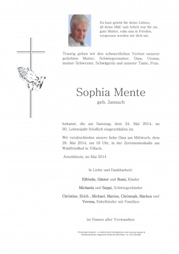 Sophia Mente geb. Jannach