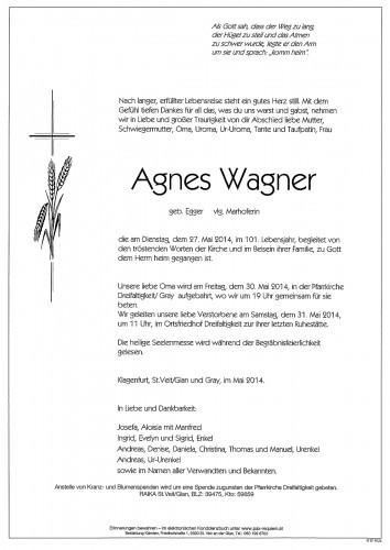 Agnes Wagner  geb. Egger