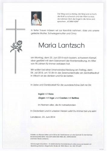 Maria Lantzsch geb. Bobrich