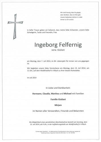 Ingeborg Felfernig,                                      verw. Giuliani