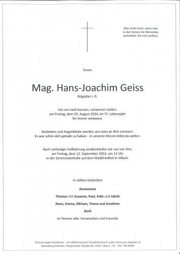 Mag. Hans-Joachim Geiss