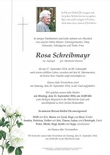 Rosa Schreibmayr,   vlg. Hufnagel