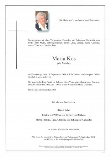 Maria Kos geb. Melcher