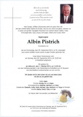 Regierungsrat Albin Pistrich