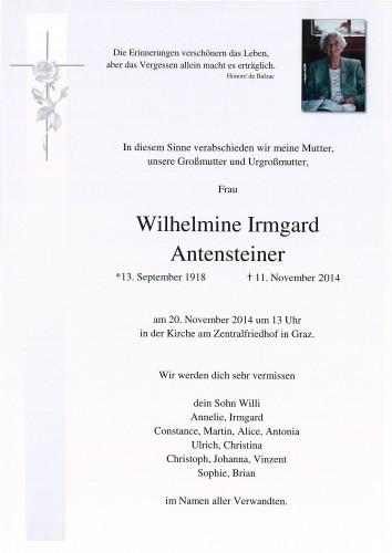 Wilhelmine Irmgard Antensteiner
