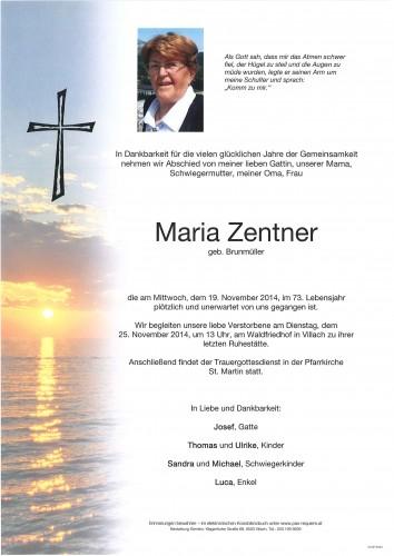 Maria Zentner geb. Brunmüler