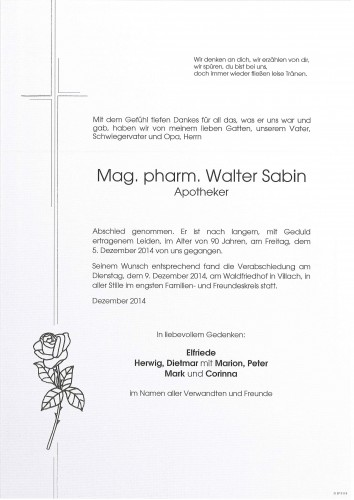 Mag. pharm. Walter Sabin