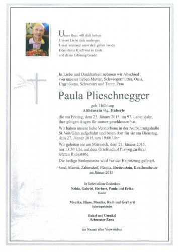 Paula Plieschnegger geb. Hölbling