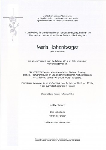 Maria Hohenberger
