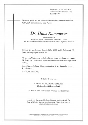 Dr. Hans Kummerer