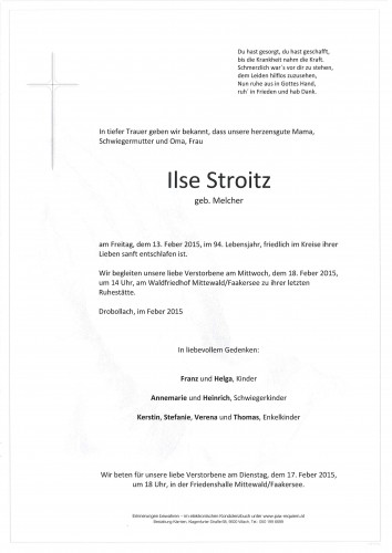 Ilse Stroitz, geb. Melcher