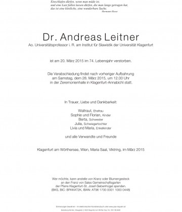 Dr. Andreas Leitner