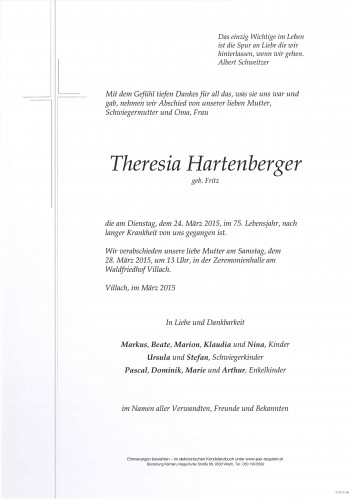 Theresia Hartenberger geb. Fritz