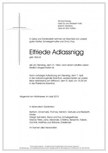 Elfriede Adlassnigg, geb. Barcal