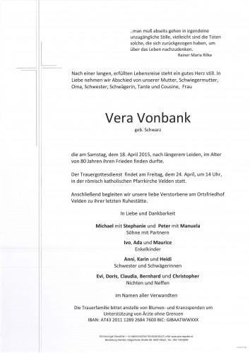 Vera Vonbank geb. Schwarz