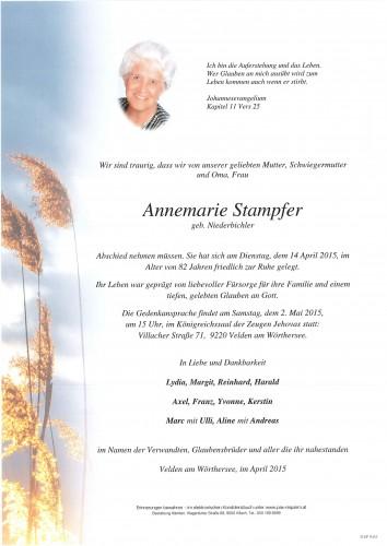 Annemarie Stampfer geb. Niederbichler