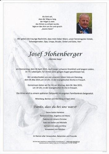 "Josef Hohenberger   ""Wertele Sepp"""