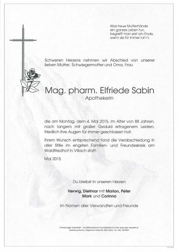 Mag. Pharm. Elfriede Sabin