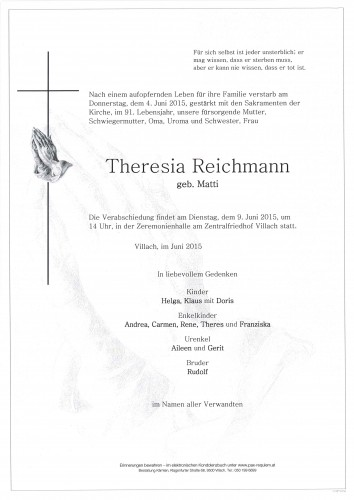 Theresia Reichmann geb. Matti