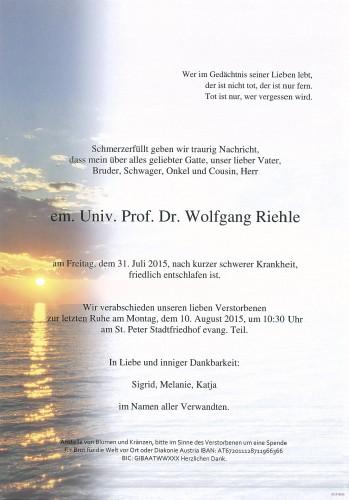 em.Univ.Prof. Dr. Wolfgang Riehle