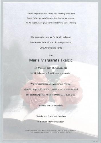 Tkalcic Maria Margareta