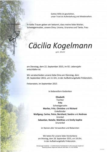 Cäcilia Kogelmann geb. Markl
