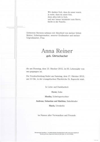 Anna Reiner geb. Görtschacher
