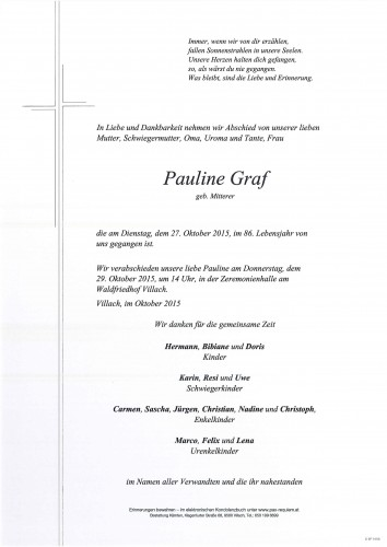 Pauline Graf  geb. Mitterer