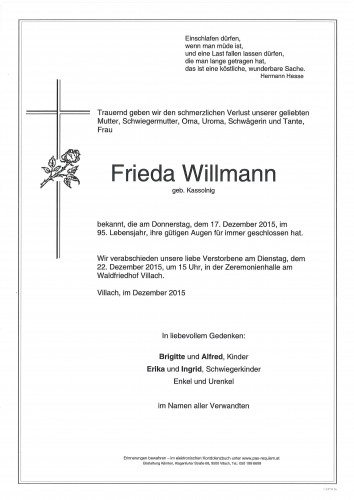 Frieda Willmann geb. Kassolnigg