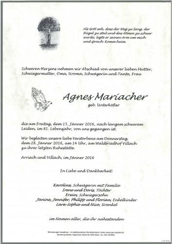 Agnes Mariacher geb. Unterköfler