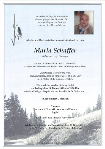 Maria Schaffer, vlg. Neuweger
