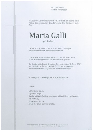 Maria Galli geb. Bacher