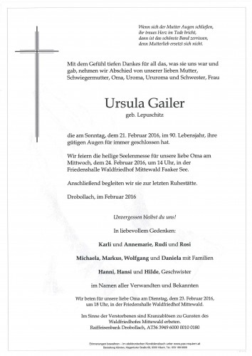 Ursula Gailer geb. Lepuschitz