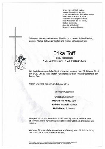 Erika Toff, geb. Komposch
