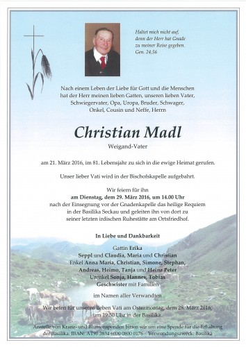 Christian Madl vlg. Weigand