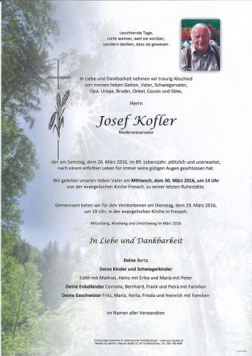 Josef Kofler            Niederwieservater