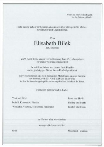 Elisabeth Bilek geb. Küppers